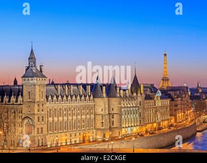 France Paris Seine river banks listed as World Heritage by UNESCO the Conciergerie on the City island the Eiffel - Stock Photo