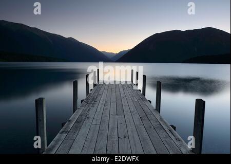 New Zealand, South island, Nelson Lakes National Park, lake Rotoiti by moonlight - Stock Photo