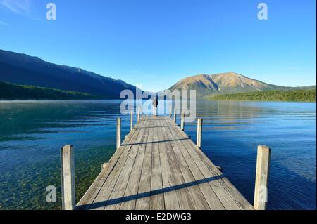 New Zealand, South island, Nelson Lakes National Park, lake Rotoiti - Stock Photo