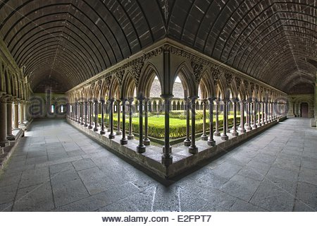 France Manche Bay of Mont Saint Michel listed as World Heritage by UNESCO The Mont Saint Michel Abbey Cloister - Stock Photo