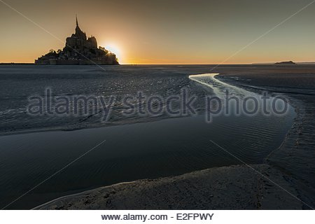 France Manche Bay of Mont Saint Michel listed as World Heritage by UNESCO Mont Saint Michel crossing the Bay of - Stock Photo