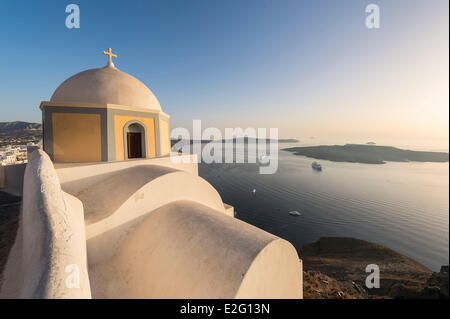 Greece Cyclades Islands Santorini Island (Thira) church in Fira - Stock Photo