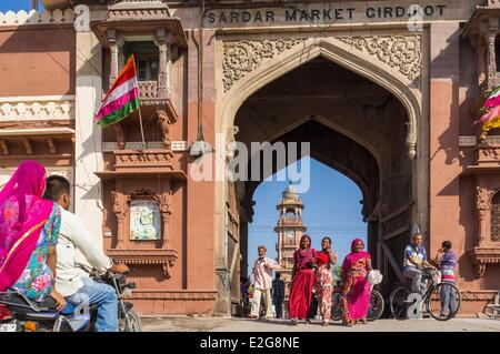 India Rajasthan State Jodhpur the old city Sardar Bazar and the Clock Tower - Stock Photo