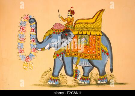 India Rajasthan State Jodhpur the old city mural - Stock Photo
