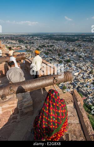 India Rajasthan State Jodhpur Mehrangarh Fort of the 15th century panorama over the Blue city from the ramparts - Stock Photo