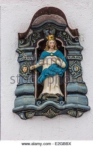 Germany Baden Wurrtemberg Black Forest Haslach Ex-Voto religious decorations in front of houses - Stock Photo