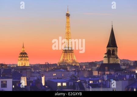 France Paris Eiffel tower illuminated (⌐ SETE illuminations Pierre Bideau) Invalides dome and Saint Germain des - Stock Photo