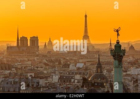 France Paris general view of Paris at sunset with July Column (Colonne de Juillet) at Place de la Bastille Notre - Stock Photo