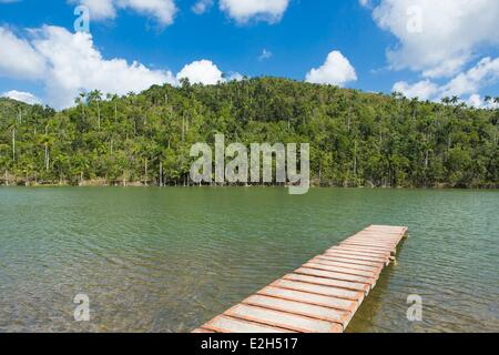 Cuba Pinar del Rio province Las Terrazas lake and pontoon - Stock Photo