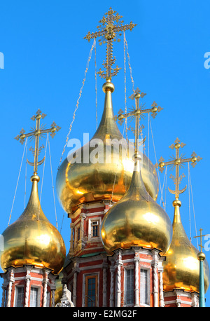 beautiful golden dome of the church against blue sky - Stock Photo