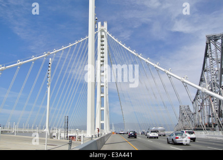 view of the eastern new section of the Oakland San Francisco Bay bridge - Stock Photo