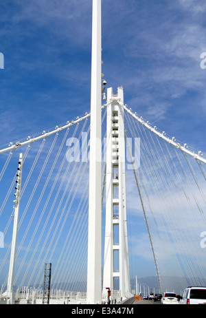 view of the new eastern span of the Oakland San Francisco Bay Bridge - Stock Photo