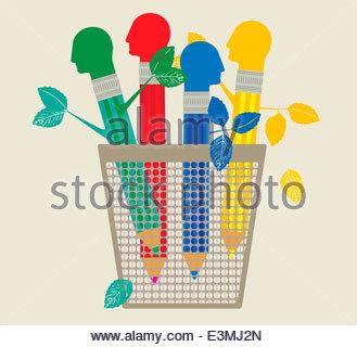 Multicolored pencils with head erasers - Stockfoto