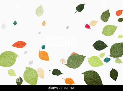 Multi colored leaves falling over white background - Stock Photo