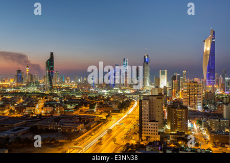 Kuwait, city skyline and central business district, elevated view - Stock Photo