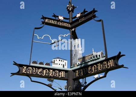 UK England, Suffolk, Lavenham, High Street, 2007 village sign commemorating Market Charter - Stock Photo