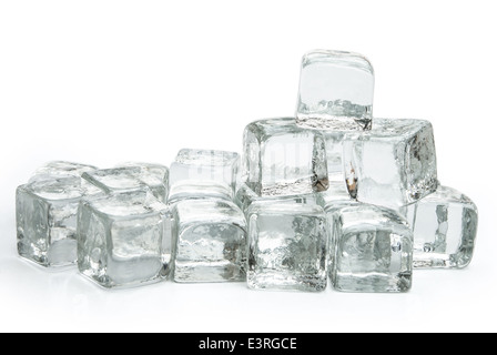 many ice cubes on white with clipping path - Stock Photo