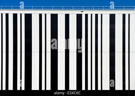 Bar code on the façade of a building, Geneva, Canton of Geneva, Switzerland - Stock Photo