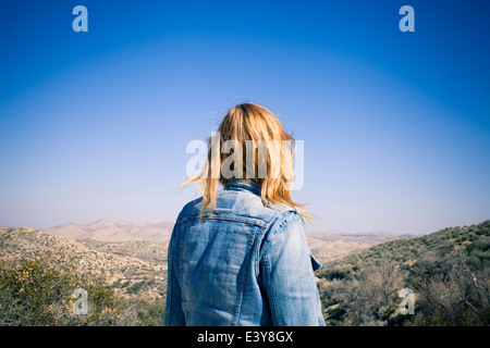 Rear view of mid adult woman gazing at view, Lake Arrowhead, California, USA - Stock Photo