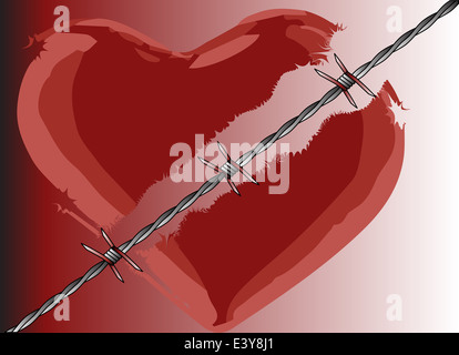 A broken heart divided with barbed wire - Stock Photo