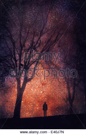 Silhouette of person in front of starry sky, composite - Stock Photo