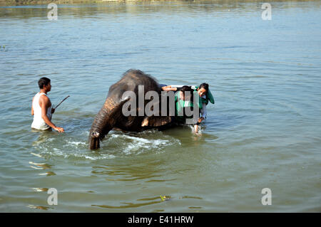 Elephant Shower That's a heffalump of a shower trunk! Two ladies enjoy the tusk of taking a pachyderm power shower - Stock Photo