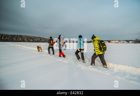Group of friends and dog walking on snow - Stock Photo