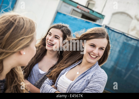 Happy teenage girls hanging out - Stock Photo