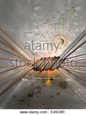 Intertwined twisted copper and silver wire cables - Stock Photo