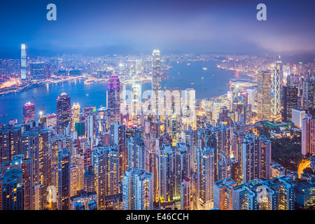 Hong Kong, China city skyline from Victoria Peak. - Stock Photo