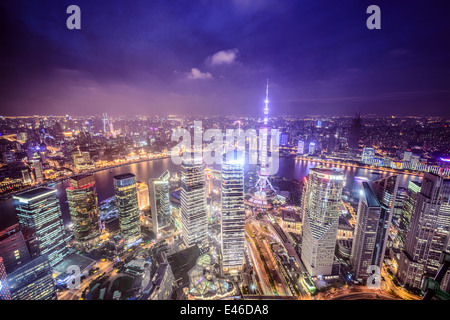 Shanghai, China aerial view of the Pudong financial district. - Stockfoto