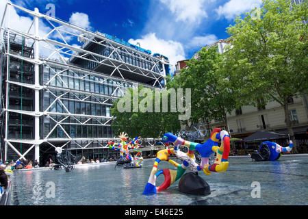 Stravinsky Fountain in Place Stravinsky, next to the Pompidou Centre, Paris, France - Stock Photo