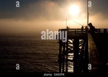 Man fishing on Crystal Pier, a public pier and hotel, in February 2014. The late afternoon sun is illuminating a - Stockfoto