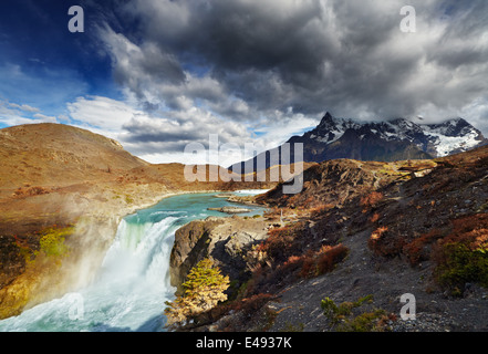 Waterfall in Torres del Paine National Park, Patagonia, Chile - Stock Photo
