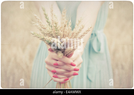 Woman holding some corn spikes - Stock Photo