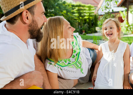 Family with one child, Munich, Bavaria, Germany - Stock Photo