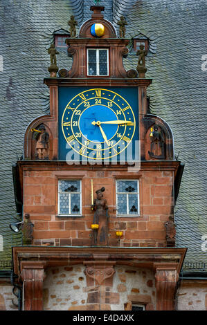 Gabel with a clock, Renaissance Tower, historic Town Hall, market square, historic centre, Marburg, Hesse, Germany - Stock Photo