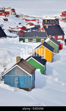 colorful inuit  houses in Greenland - Stock Photo