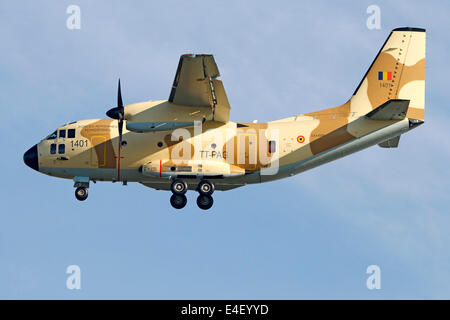 An Alenia C-27J Spartan of the Chadian Air Force in flight over Italy. - Stock Photo