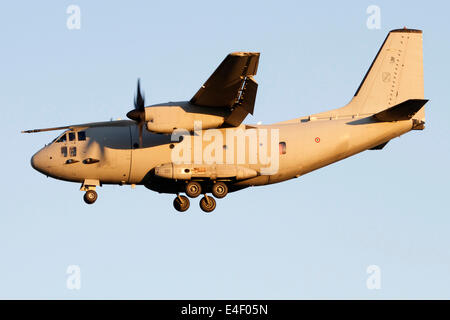 An Alenia C-27J Spartan of the Italian Air Force in flight over Turin Airport, Italy. - Stock Photo