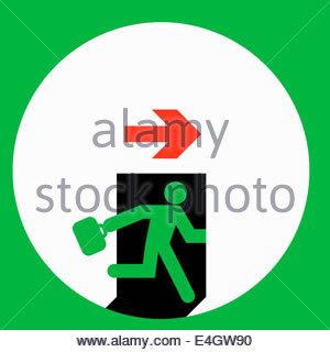 Businessman running through exit door - Stock Photo