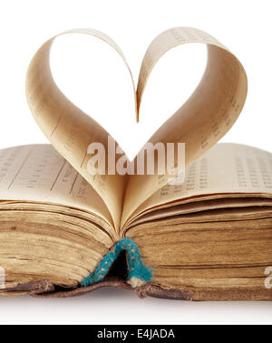 Book with opened pages of shape of heart isolated on white background - Stock Photo