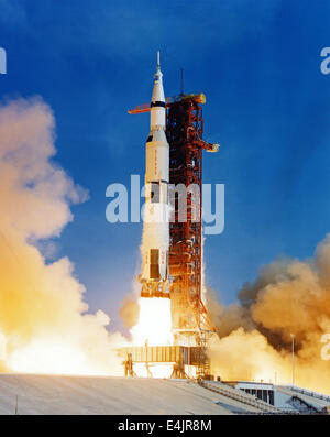 Launch of Apollo 11, Saturn V space rocket - Stock Photo