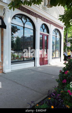 View of the front of The Niagara Apothecary located in the historic old town of Niagara-on-the-Lake, Ontario, Canada. - Stock Photo