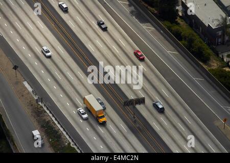 Santa Monica Freeeway, Interstate 10 (I-10), Los Angeles, California, USA - aerial - Stock Photo