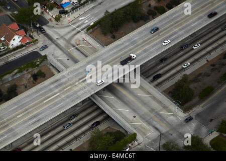 Harbor Freeway (Interstate 110 or I-110), and West 51st Street, Los Angeles, California, USA - aerial - Stock Photo
