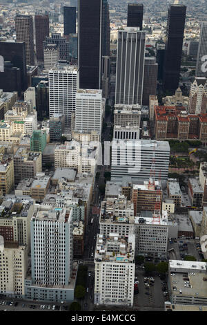 West 6th Street, Downtown Los Angeles, California, USA - aerial - Stock Photo