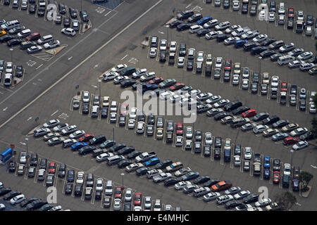 Car park, Los Angeles International Airport (LAX), Los Angeles, California, USA - aerial - Stock Photo