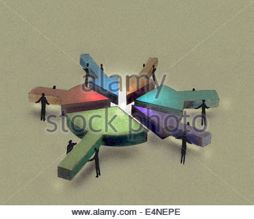 Business people working together joining arrows to form pie chart - Stock Photo