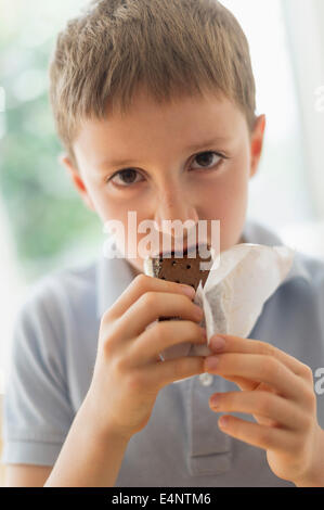 Boy (8-9) eating ice cream sandwich - Stock Photo